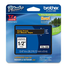 Brother TZe334 12mm 1/2 gold on black P-Touch TZ tape PT H100 P700 2030VP 2030