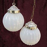 RETRO Ceiling Globes White Glass Opalescent Lustre LAMP LIGHT CHANDELIER Pendant