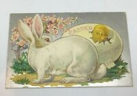 "Antique Embossed Postcard Posted 1909 "" EASTER GREETINGS "" Easter Rabbit Series"