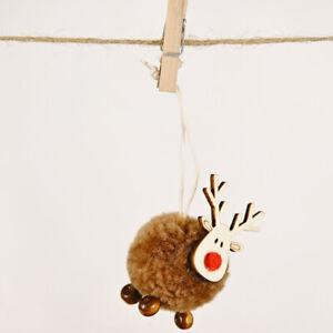 Cute Christmas Tree Decoration Deer Craft Ornament Wooden Elk Hanging Pendant