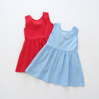 Lovely Toddler Girls Summer Princess Dress Kids Party Wedding Sleeveless Clothes