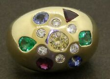 Jovan heavy 14K gold 3.09CTW Yellow diamond ruby emerald sapphire dome ring