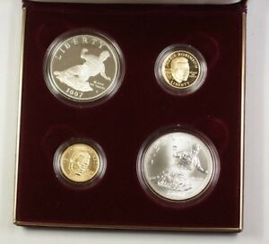 1997 US Jackie Robinson Commemorative Gold & Silver Proof Set 4 Coins Total JAH