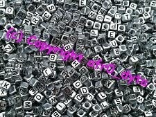 100 Silver Coloured Alphabet Mixed Letters Cube Beads 6mm