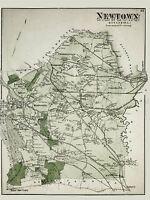 MAP ANTIQUE 1873 BEERS NEWTOWN QUEENS NEW YORK CITY REPLICA POSTER PRINT PAM1920