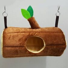 1 Pcs Cute Velvet Horizontal Log Bed Sugar Glider Cage, Brown Color, Small Pet.