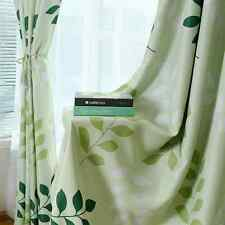 2 x Summer Time Blockout Eyelet Curtains Green Leaves 300cm x 230cm -Pair