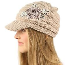 Winter Thick Floral Chunky Stretchy Knit Beanie Skully Visor Jeep Hat Cap Beige