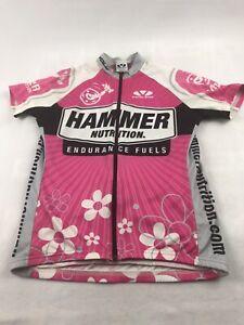 Voler Womens Sz Med Hammer Nutrition Cycling Jersey Full Zip Pink White Rack