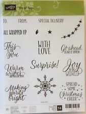 Stampin Up TIN OF TAGS photopolymer stamps Christmas warm wishes spirits bright