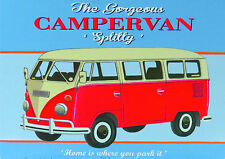 VW campervan vintage / retro repro metal A4 sign/poster wall decor