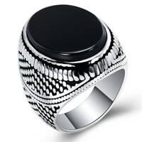 Fashion Men's Black Onyx Ring 925 Silver Punk Biker Rings Party Jewelry Gift
