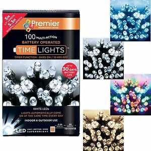Premier 100 Christmas Battery Timer LED Lights - Indoor or Outdoor - 4 Colours