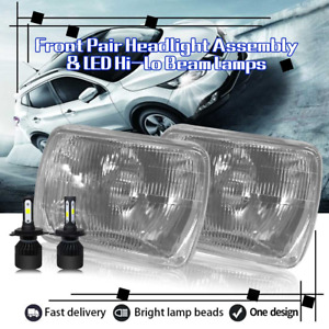 """Front Pair 7""""x6"""" Square Headlights & H4 LED Hi/Lo Beam for 1995 Mazda Protege"""
