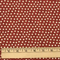 2 Yards Cotton Quilting Fabric Red/Rust Ivory Dots Sandy Gervais for Moda