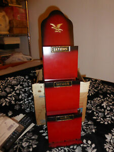 OLDER RED METAL LETTER MAIL CARD HOLDER 3 SLOT VERY NICE
