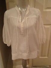 Women's THEORY Harimy pavilion white semi-sheer button blouse NWT M $180