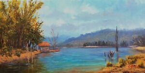 Original oil Australian landscape boat shed near Lake Jindabyne