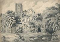 FIGURES IN ABBEY RUINS LANDSCAPE Antique Pencil Drawing 19TH CENTURY - SIGNED