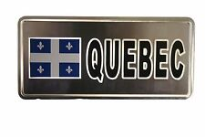 QUEBEC FLAG-SILVER LICENSED STICKER FLAG PLATE..SIZE: 6 X 3 INCH