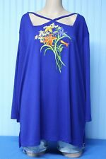 """Bob Mackie blue knit 3/4 sleeve flower embroidery top with """"X"""" open neck     2X"""