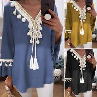 UK Womens Casual Plain T Shirt Long Sleeve Tassels Ethnic V Neck Blouse Top 8-24