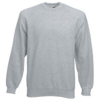 Fruit of the Loom MENS RAGLAN SWEATSHIRT PLAIN SWEAT CASUAL S-2XL 13 COLOURS NEW