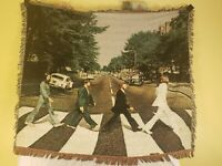 """The Beatles Abbey Road RARE Blanket Knit Throw Afghan 2007 58"""" X 48"""" Tapestry"""