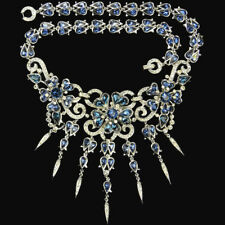 Trifari Philippe Pave and Teardrop Sapphires 3 Flowers & 7 Pendants Necklace