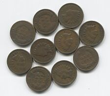 10 Antique Indian Head Pennies Cent Collection Lot w/ 2 pre-1900's Nice Old Set