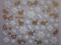 Christmas Gold White Snowflakes Stars Design 3D Nail Art Stickers Decals (256G)