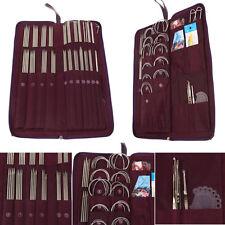104Pcs Double Pointed Stainless Knitting Needle Pin Crochet Hooks Weave Set Case