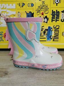Girls Wellies Size 12 Unicorns Print Brand New white pink