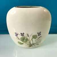Otagiri Japan Mini Small Vase Herb Planter Gold Trim Purple Flower