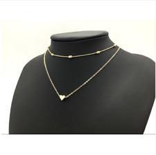 DAMEN HALSKETTE GOLD HERZ Halsband Halsschmuck Kette Doppelkette Schmuck NEU