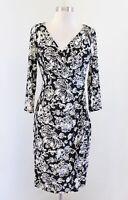 Lauren Ralph Lauren Black White Floral Print Ruched Wiggle Dress Size 2 V Neck