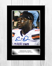 Emmanuel Ogbah NFL Cleveland Browns reproduction signed poster. Choice of frame.