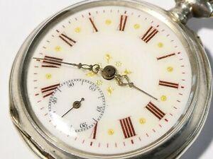 Antique Remontoir Swiss 800 Silver Pocket Watch Enamel Dial Red Numerals #PE6