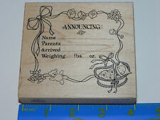 PSX Rubber Stamp  K-151 Baby Annoucement Name Weight Date Announcing Blocks
