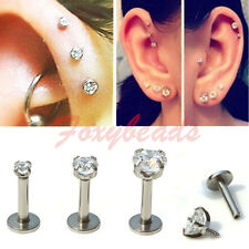 "Lip Monroe Ear Cartilage Helix Stud Earring 3p 16G 1/4"" 316L Steel Gem Tragus"