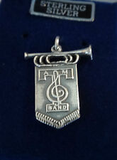 Sterling Silver 22x17mm ATM Texas A&M University Aggie Flag Bugle say Band Charm