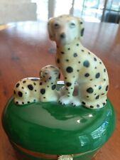 Fitz & Floyd Trinket Box Vintage with Dalmatian Dog Figurines Porcelain Box