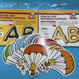 "Bulletin Board Reusable Letters 4"" Black Yellow x2 pkg Peanuts Woodstock extra"