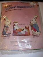 "Vintage Pillow or Toy PAINTED Needlepoint Kit 17"" PAPA RABBIT Bucilla 4677 CRAFT"