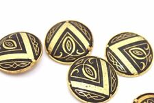Rare SET OF FOUR Ornate DAMASCENE Gold Buttons w. PYRAMID Motif