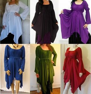 Boho long sleeve peasant top shirt blouse 14 16 18 20 goth wench cosplay Swirl