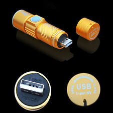 Adjustable Q5 LED Zoom 1800LM MINI USB Rechargeable Flashlight Torch Portable
