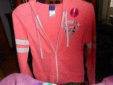 NWT DC COMICS SUPERMAN Logo Zip up HOODY Sweatshirt Jacket  XL.15/17 JR CORAL