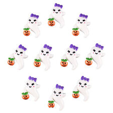 10pcs Resin Ghost Girly Boo w/ Pumpkin Halloween Flatback Hair Bow Crafts Gift