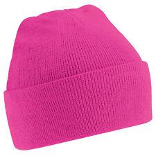 Kids Unisex Fuchsia Pink Cuffed Soft Feel Wooly Hat - Winter, Autumn, Warm, Rain